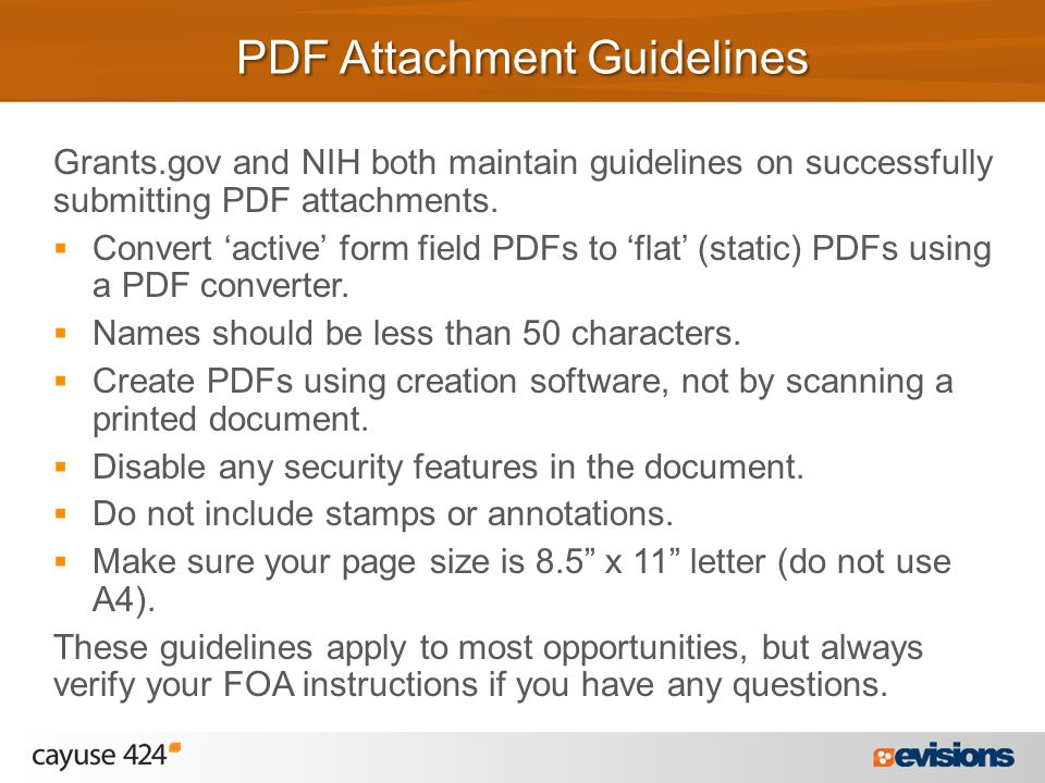 Grants.gov and NIH both maintain guidelines on successfully submitting PDF attachments.