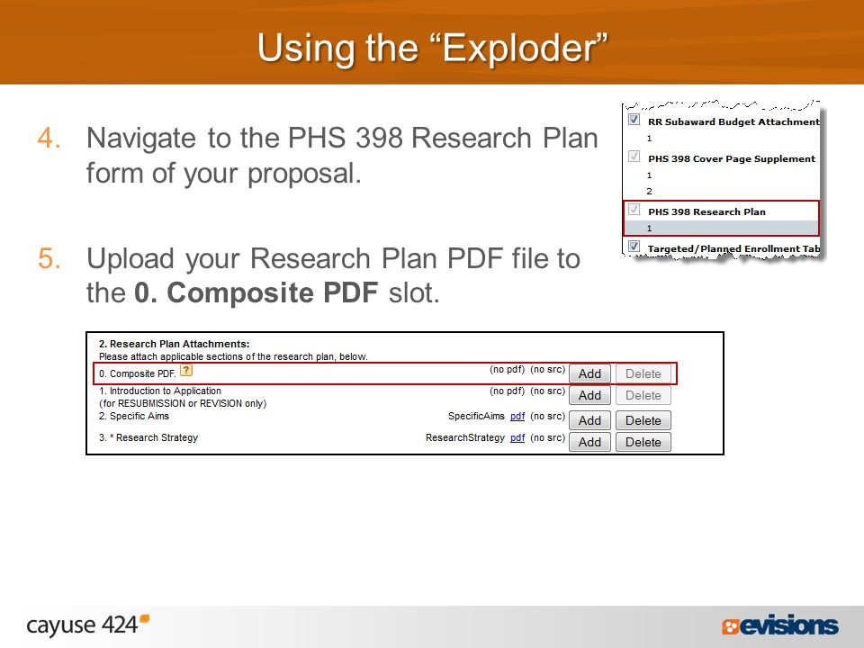 4.Navigate to the PHS 398 Research Plan form of your proposal.