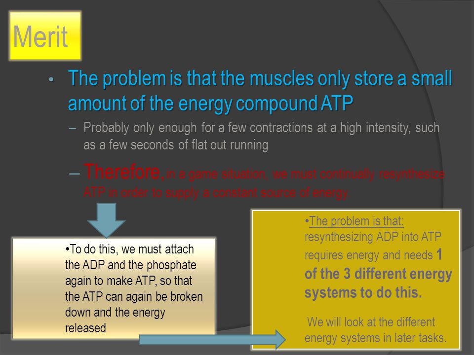 Merit The problem is that the muscles only store a small amount of the energy compound ATP The problem is that the muscles only store a small amount of the energy compound ATP – Probably only enough for a few contractions at a high intensity, such as a few seconds of flat out running – Therefore, in a game situation, we must continually resynthesize ATP in order to supply a constant source of energy.