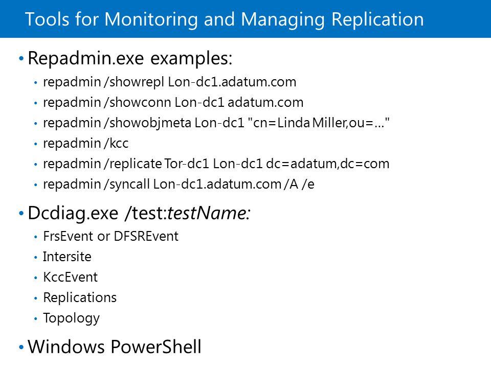 Tools for Monitoring and Managing Replication Repadmin.exe examples: repadmin /showrepl Lon-dc1.adatum.com repadmin /showconn Lon-dc1 adatum.com repad
