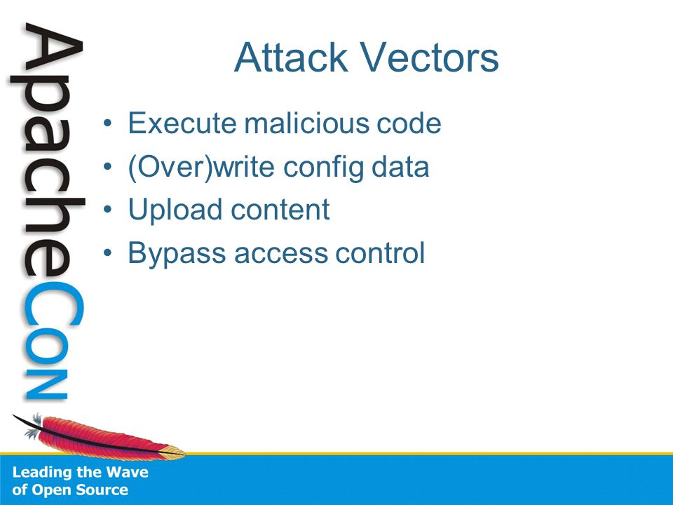 Attack Vectors Execute malicious code (Over)write config data Upload content Bypass access control