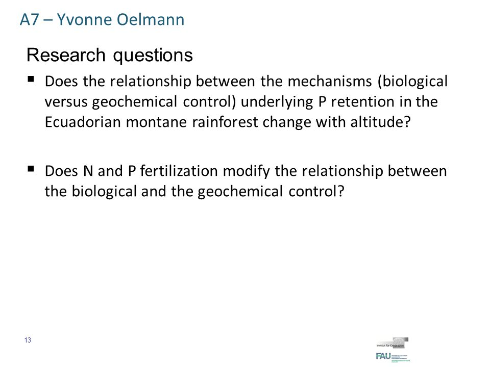 A7 – Yvonne Oelmann Preliminary results  The P-saturation index in mineral soil increases with increasing altitude.