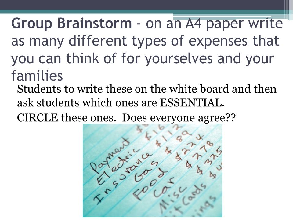Group Brainstorm - on an A4 paper write as many different types of expenses that you can think of for yourselves and your families Students to write these on the white board and then ask students which ones are ESSENTIAL.