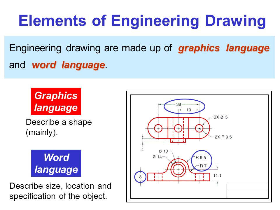 Elements of Engineering Drawing graphics language Engineering drawing are made up of graphics language word language and word language.