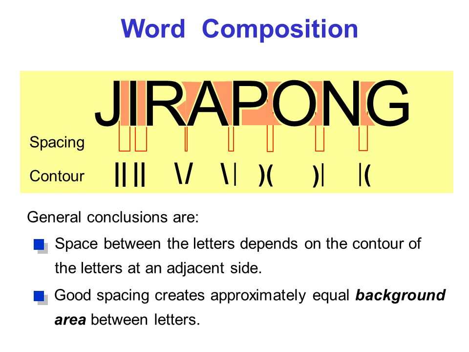 Word Composition JIRAPONG \ /\ / \ | )( ) | ( | Space between the letters depends on the contour of the letters at an adjacent side.
