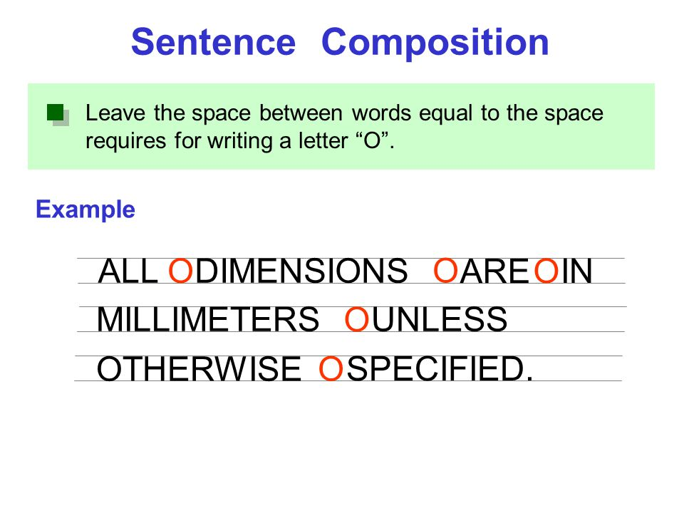 "Leave the space between words equal to the space requires for writing a letter ""O"". Example Sentence Composition ALLDIMENSIONS ARE IN MILLIMETERS O O"