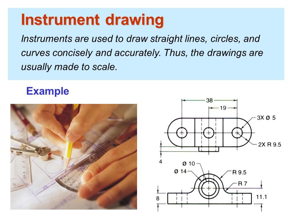 Instrument drawing Instruments are used to draw straight lines, circles, and curves concisely and accurately. Thus, the drawings are usually made to s