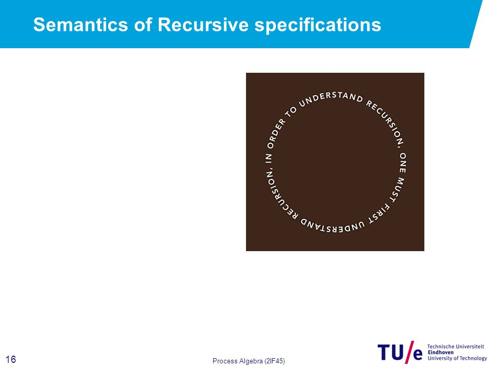 16 Process Algebra (2IF45) Semantics of Recursive specifications