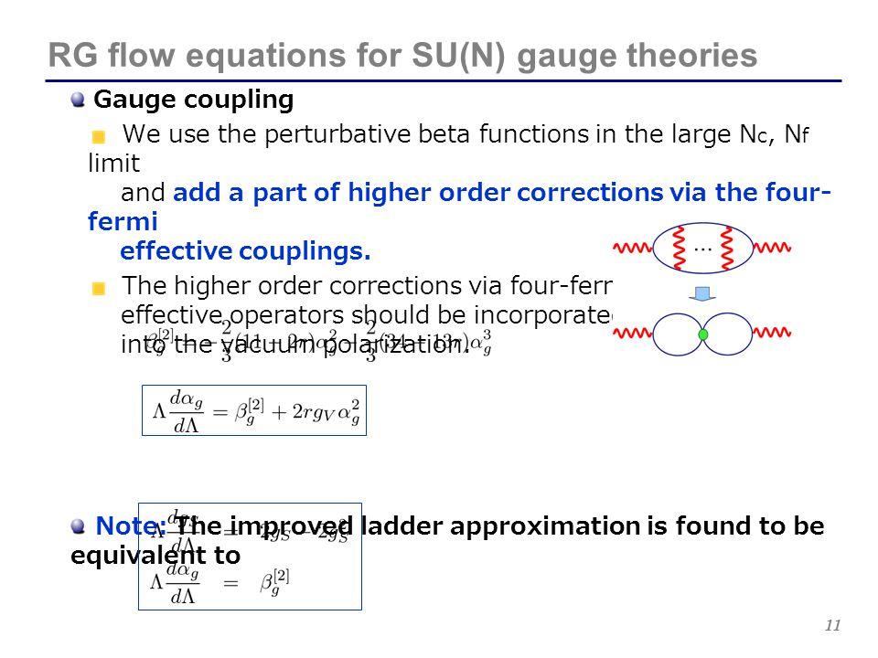 11 RG flow equations for SU(N) gauge theories Gauge coupling We use the perturbative beta functions in the large N c, N f limit and add a part of high