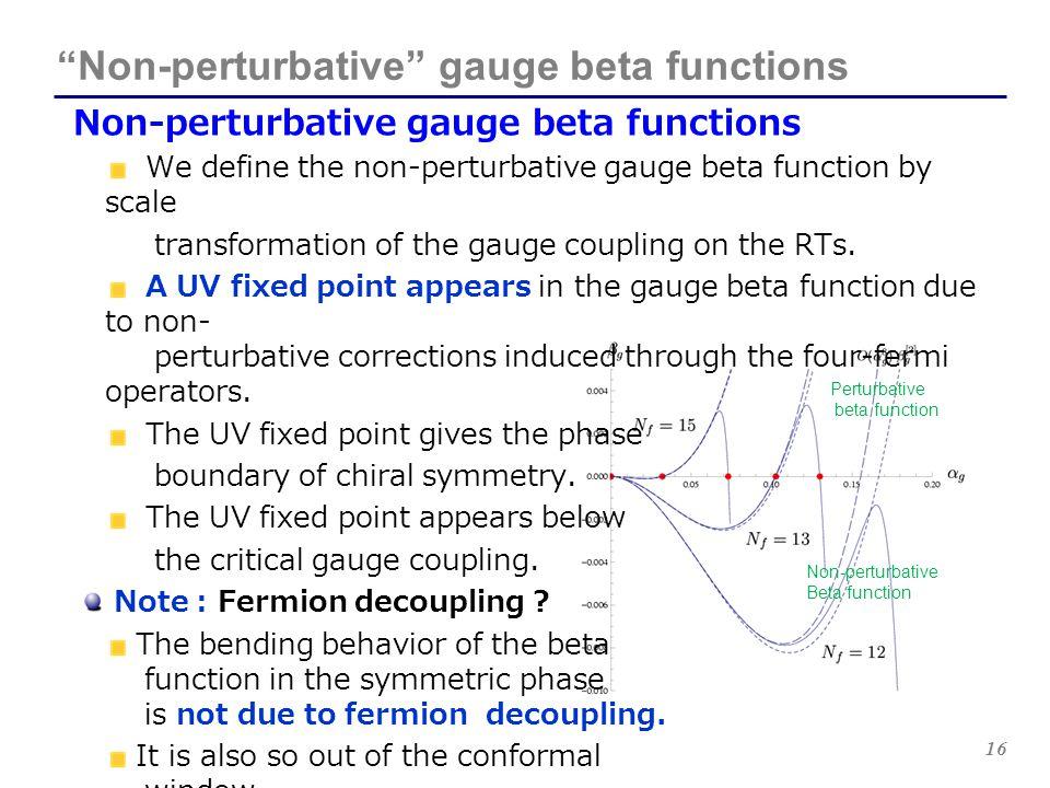 "16 ""Non-perturbative"" gauge beta functions Non-perturbative gauge beta functions We define the non-perturbative gauge beta function by scale transform"