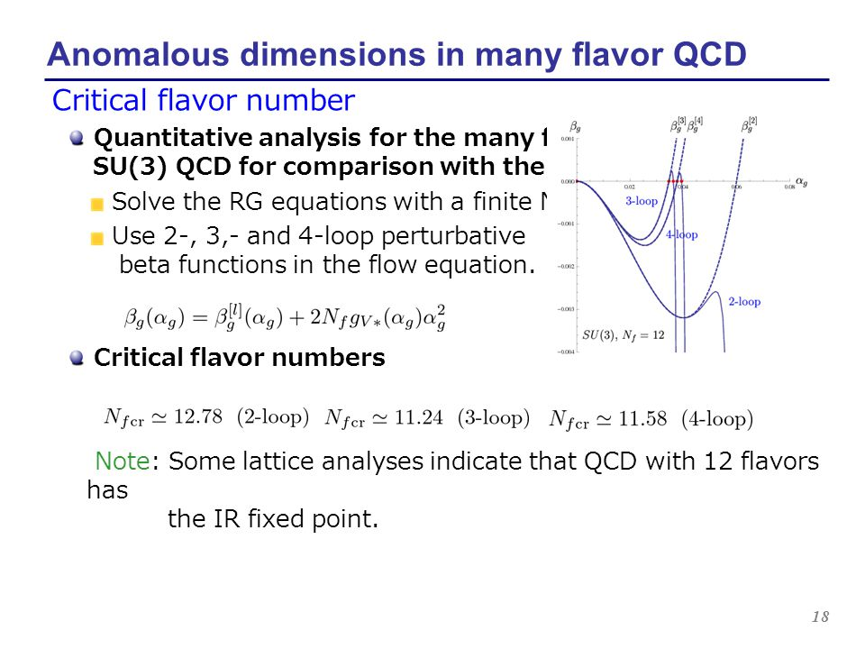 18 Anomalous dimensions in many flavor QCD Critical flavor number Quantitative analysis for the many flavor SU(3) QCD for comparison with the lattice.