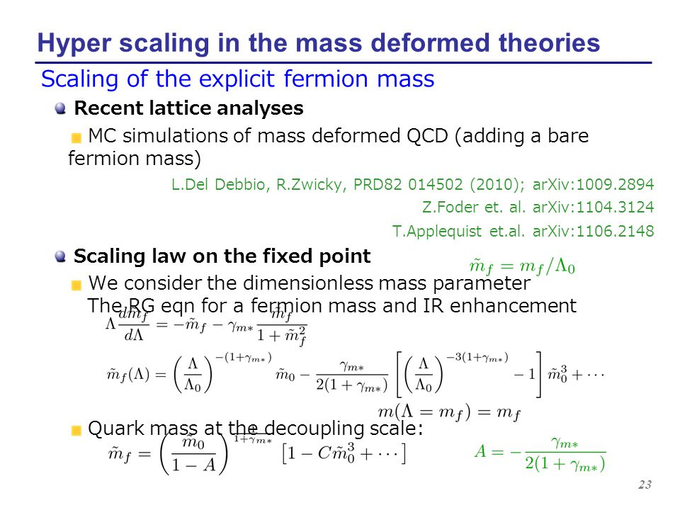 23 Hyper scaling in the mass deformed theories Scaling of the explicit fermion mass Recent lattice analyses MC simulations of mass deformed QCD (addin