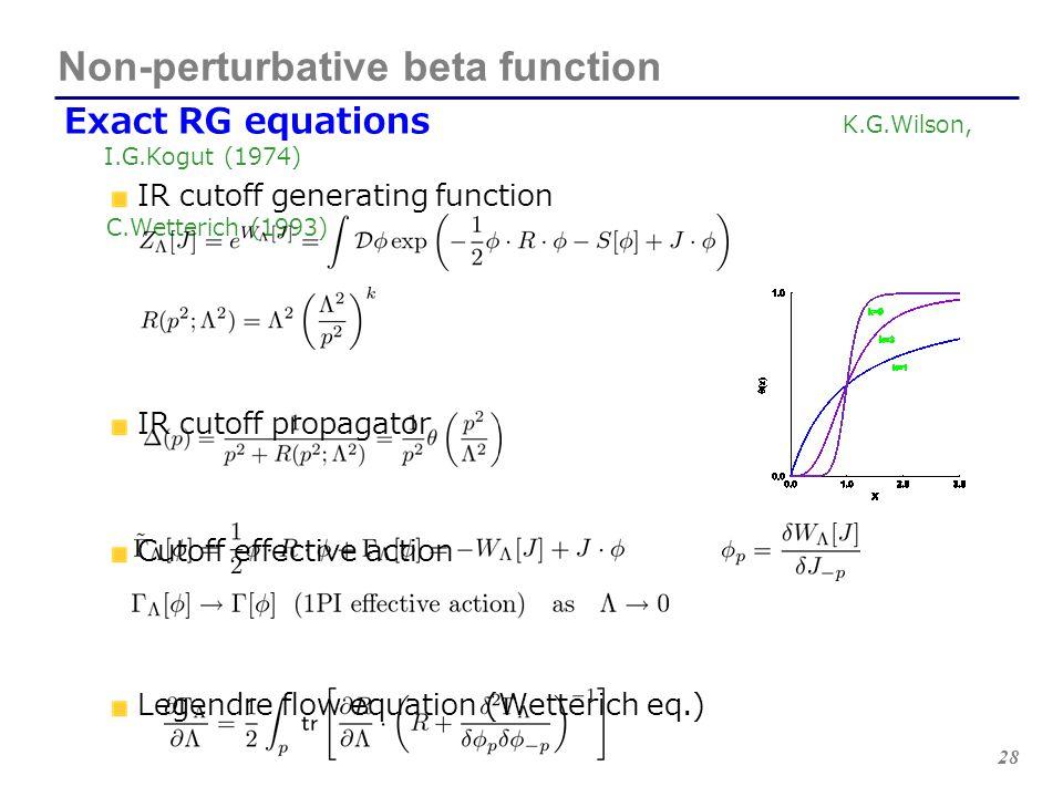 28 Exact RG equations K.G.Wilson, I.G.Kogut (1974) IR cutoff generating function C.Wetterich (1993) IR cutoff propagator Cutoff effective action Legen