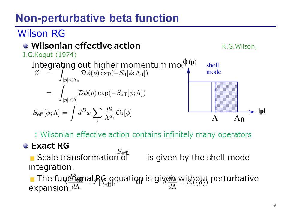 4 Non-perturbative beta function Wilson RG Wilsonian effective action K.G.Wilson, I.G.Kogut (1974) Integrating out higher momentum modes : Wilsonian e