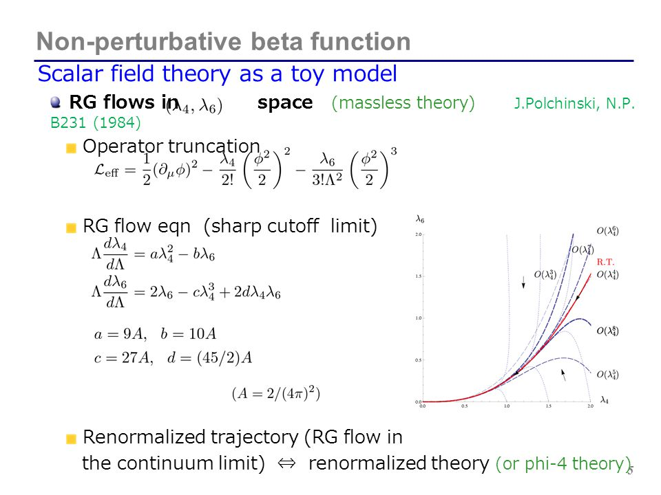 6 Renormalized trajectory Perturbative analysis Non-perturbative beta function Renormalized trajectory We can find the RT numerically without perturbative expansion.