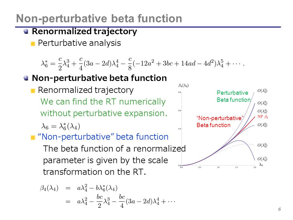 17 Non-perturbative gauge beta functions Conformality lost and the Miransky scaling V.A.Miransky, K.Yamawaki MPL A4 (1989); PRD 55 (1997) Conformality lost D.B.Kaplan, J-W.Lee, D.T.Son, M.A.Stephanov, PRD 80 (2009) The IR fixed point merges with the UV fixed point at the edge of conformal window.