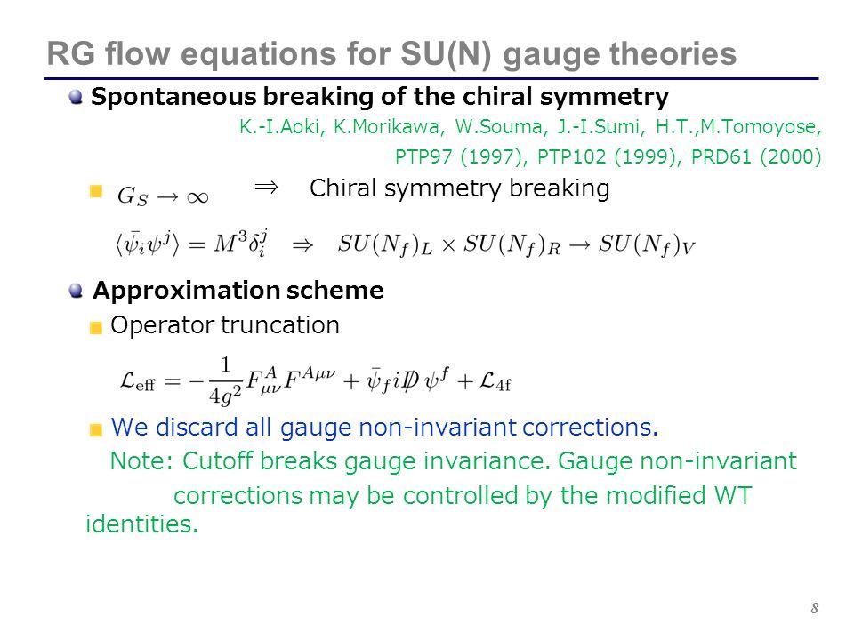8 RG flow equations for SU(N) gauge theories Spontaneous breaking of the chiral symmetry K.-I.Aoki, K.Morikawa, W.Souma, J.-I.Sumi, H.T.,M.Tomoyose, P