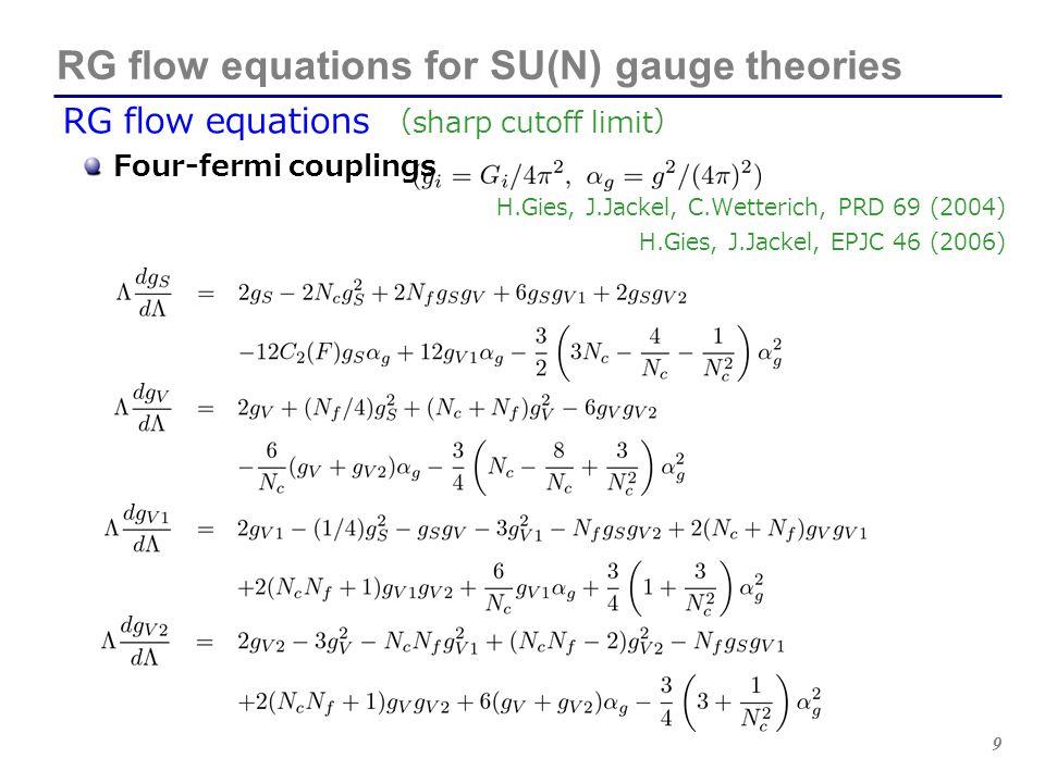 9 RG flow equations for SU(N) gauge theories RG flow equations ( sharp cutoff limit ) Four-fermi couplings H.Gies, J.Jackel, C.Wetterich, PRD 69 (2004