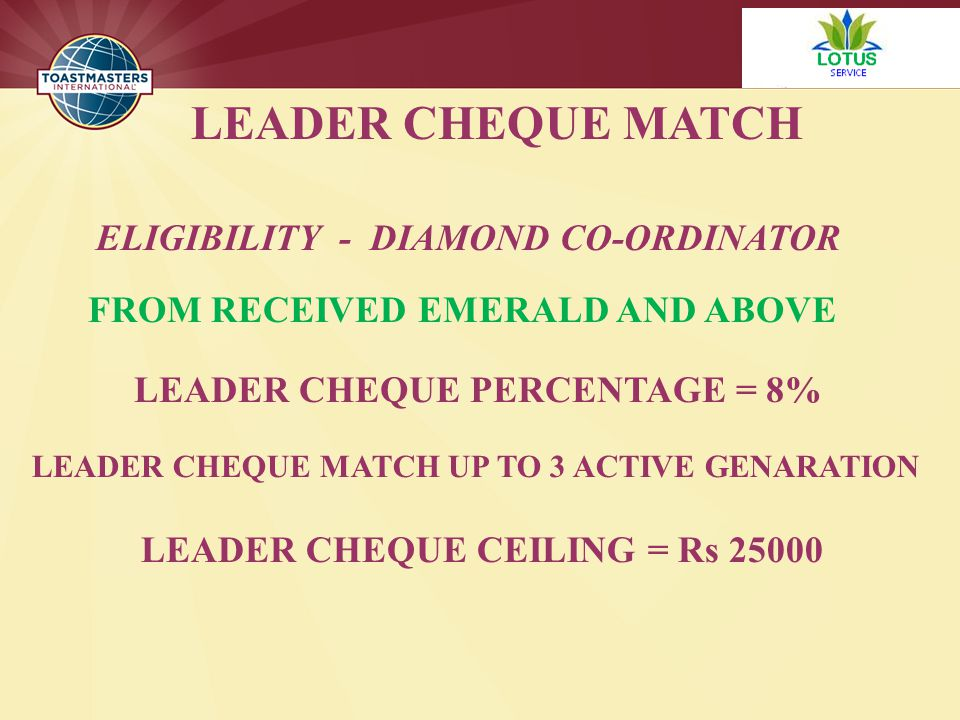 LEADER CHEQUE MATCH ELIGIBILITY - DIAMOND CO-ORDINATOR FROM RECEIVED EMERALD AND ABOVE LEADER CHEQUE PERCENTAGE = 8% LEADER CHEQUE MATCH UP TO 3 ACTIVE GENARATION LEADER CHEQUE CEILING = Rs 25000