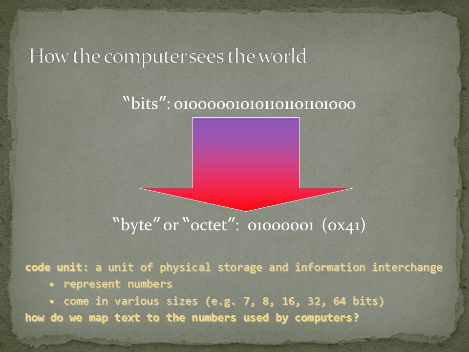 bits : 010000010101101101101000 byte or octet : 01000001 (0x41) code unit: a unit of physical storage and information interchange represent numbersrepresent numbers come in various sizes (e.g.