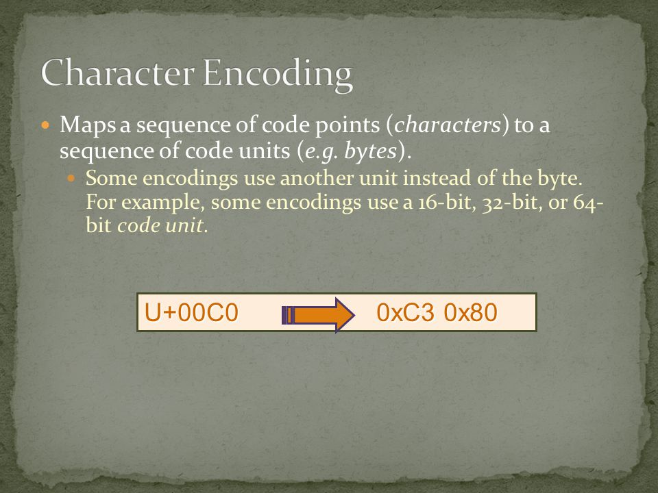 Maps a sequence of code points (characters) to a sequence of code units (e.g.