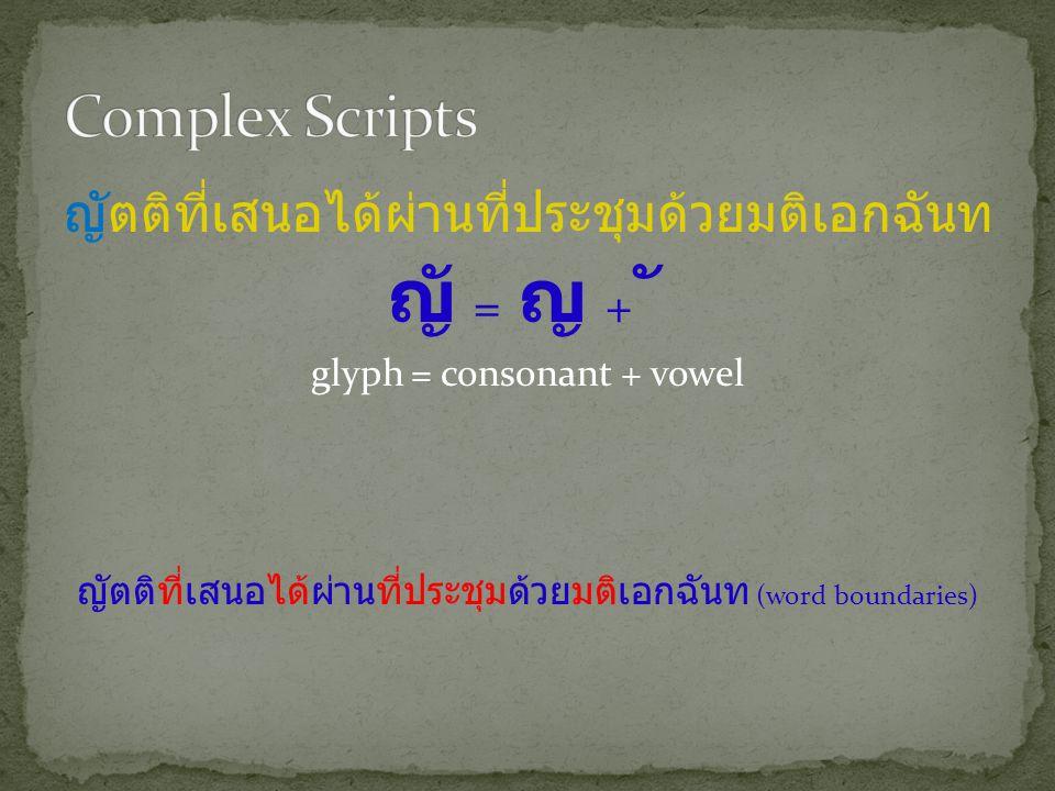 ญัตติที่เสนอได้ผ่านที่ประชุมด้วยมติเอกฉันท ญั = ญ + ั glyph = consonant + vowel ญัตติที่เสนอได้ผ่านที่ประชุมด้วยมติเอกฉันท (word boundaries)