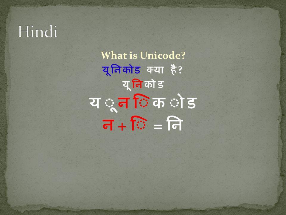 What is Unicode? यूनिकोड क्या है ? यू नि को ड न + ि = नि