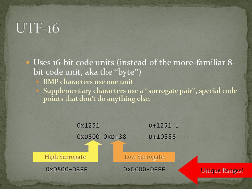 Uses 16-bit code units (instead of the more-familiar 8- bit code unit, aka the byte ) BMP characters use one unit Supplementary characters use a surrogate pair , special code points that don ' t do anything else.