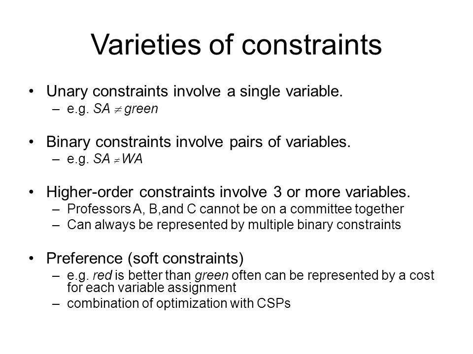 Varieties of constraints Unary constraints involve a single variable. –e.g. SA  green Binary constraints involve pairs of variables. –e.g. SA  WA Hi