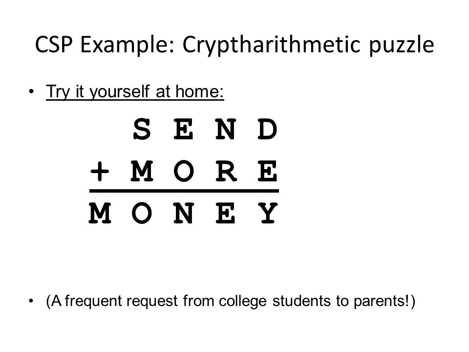 CSP Example: Cryptharithmetic puzzle Try it yourself at home: (A frequent request from college students to parents!) S E N D + M O R E M O N E Y