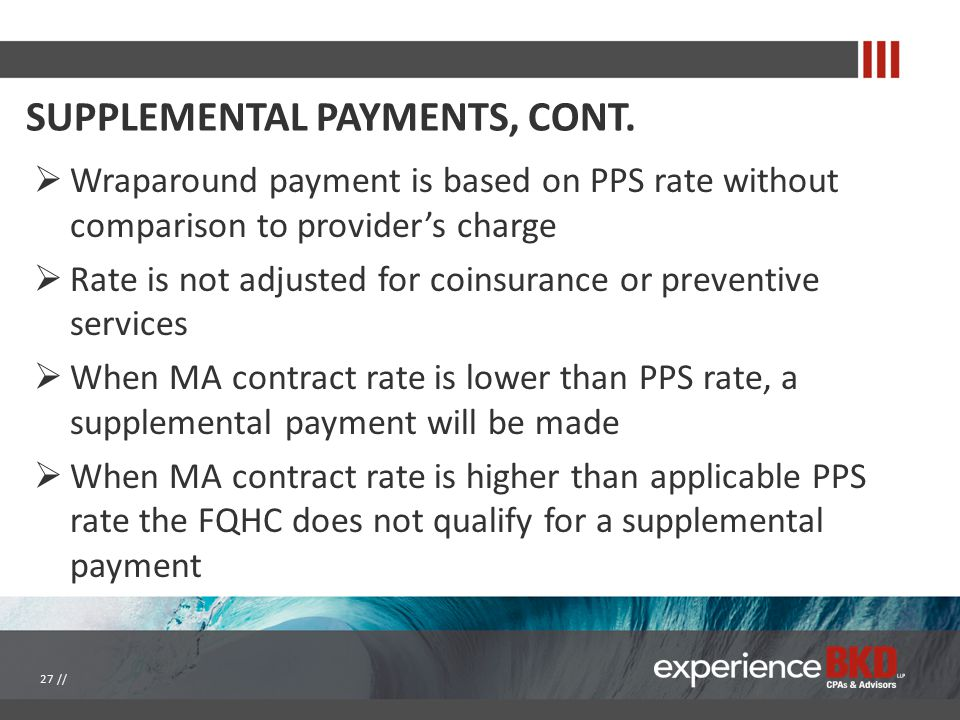 SUPPLEMENTAL PAYMENTS, CONT.  Wraparound payment is based on PPS rate without comparison to provider's charge  Rate is not adjusted for coinsurance
