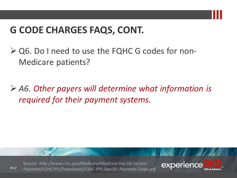  Q6. Do I need to use the FQHC G codes for non- Medicare patients.