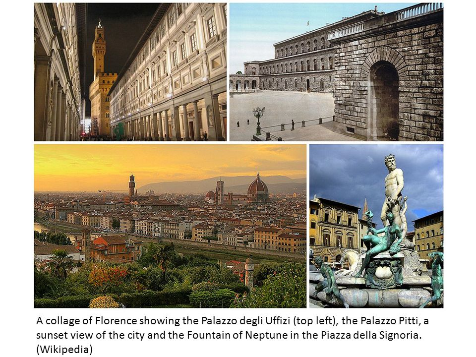 A collage of Florence showing the Palazzo degli Uffizi (top left), the Palazzo Pitti, a sunset view of the city and the Fountain of Neptune in the Pia