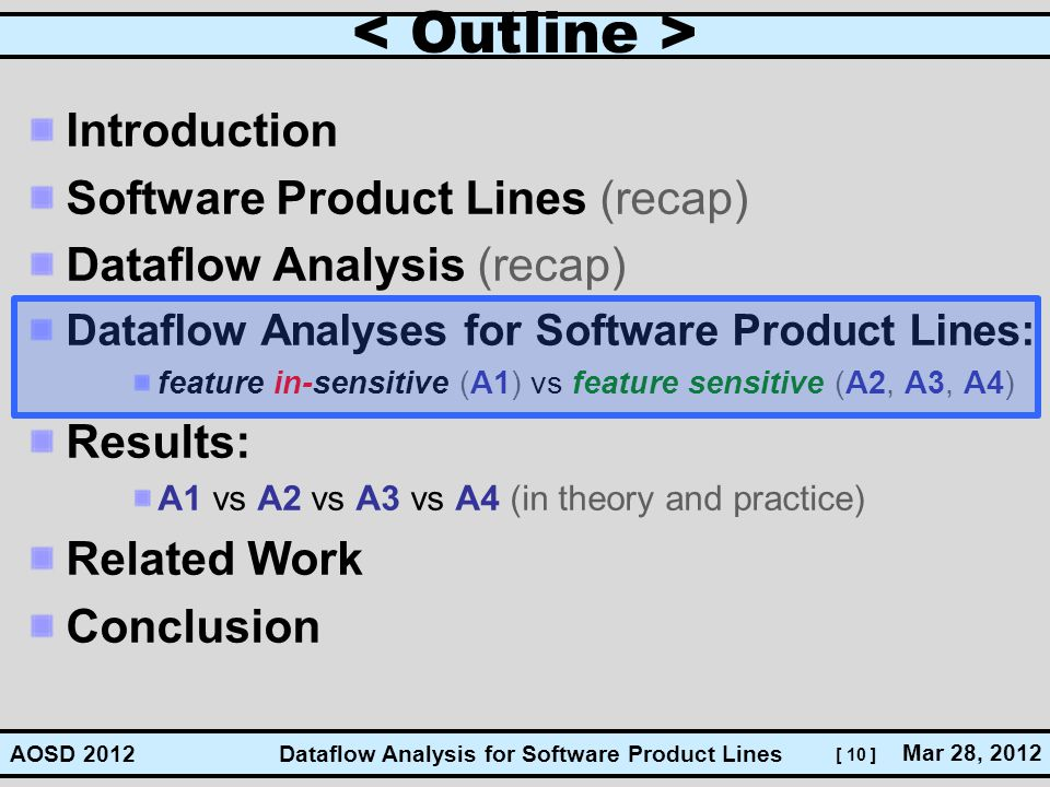 [ 10 ] Dataflow Analysis for Software Product Lines Mar 28, 2012 AOSD 2012 Introduction Software Product Lines (recap) Dataflow Analysis (recap) Dataf