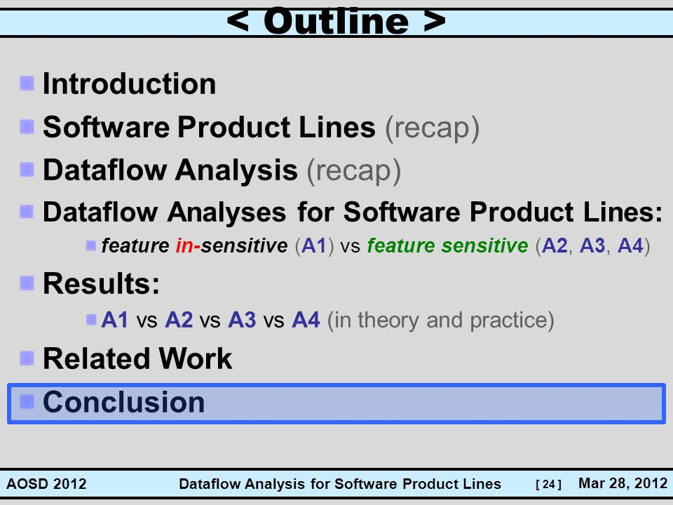 [ 24 ] Dataflow Analysis for Software Product Lines Mar 28, 2012 AOSD 2012 Introduction Software Product Lines (recap) Dataflow Analysis (recap) Dataf