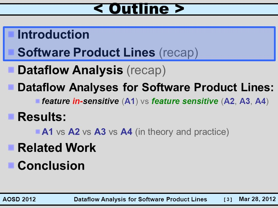 [ 3 ] Dataflow Analysis for Software Product Lines Mar 28, 2012 AOSD 2012 Introduction Software Product Lines (recap) Dataflow Analysis (recap) Datafl