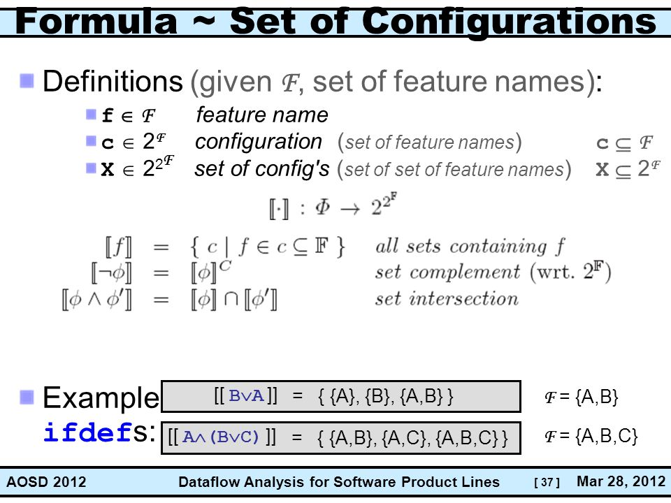 [ 37 ] Dataflow Analysis for Software Product Lines Mar 28, 2012 AOSD 2012 Formula ~ Set of Configurations Definitions (given F, set of feature names)