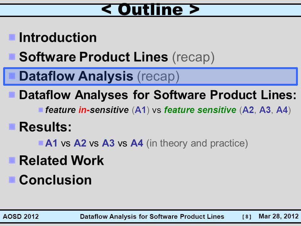 [ 8 ] Dataflow Analysis for Software Product Lines Mar 28, 2012 AOSD 2012 Introduction Software Product Lines (recap) Dataflow Analysis (recap) Dataflow Analyses for Software Product Lines: feature in-sensitive (A1) vs feature sensitive (A2, A3, A4) Results: A1 vs A2 vs A3 vs A4 (in theory and practice) Related Work Conclusion