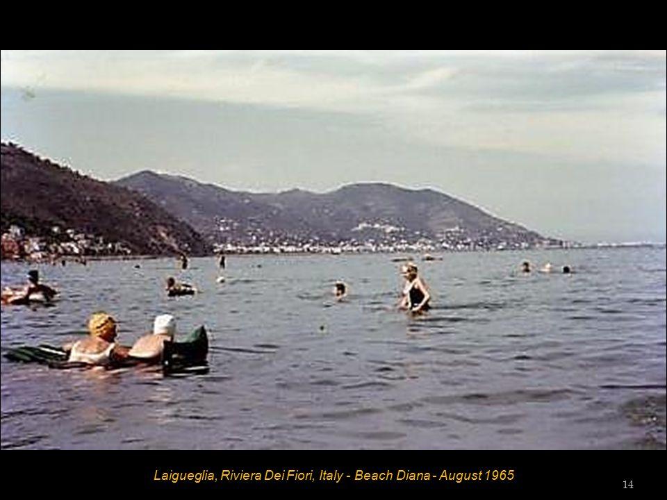 Laigueglia, Riviera Dei Fiori, Italy - Beach Diana - August 1965 Bill Wilson, Dot Wilson, Vic Tester, Tess Tester and Hett 13