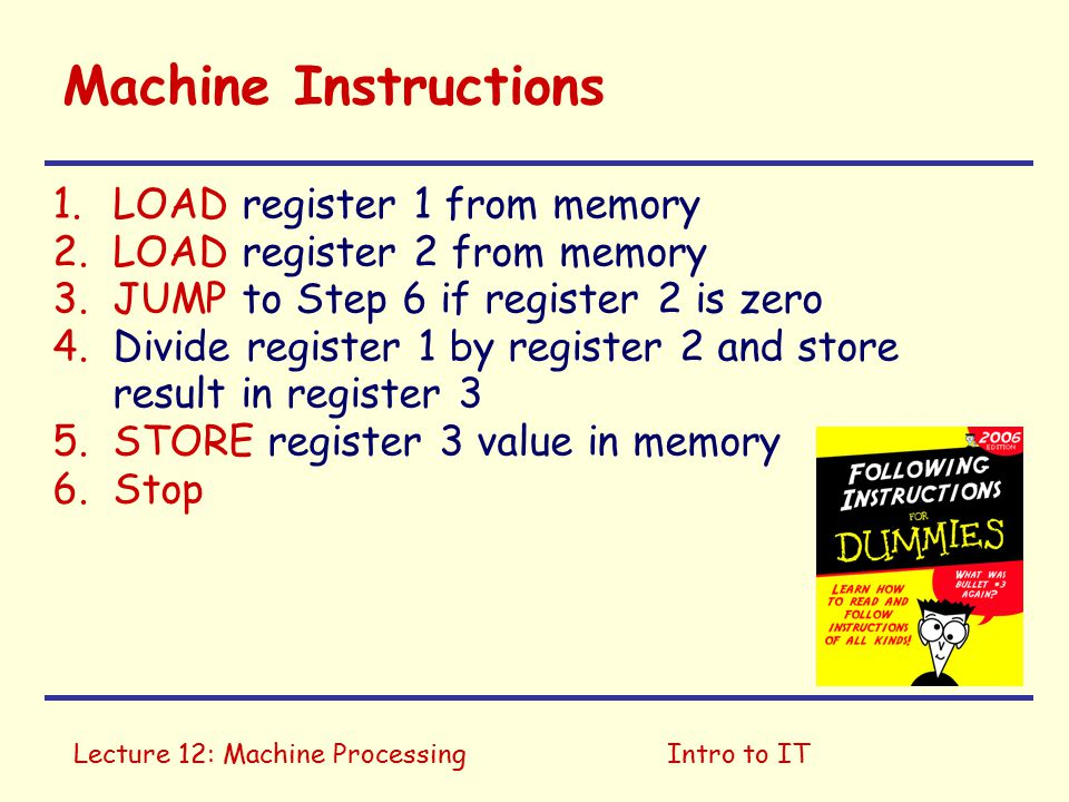 Lecture 12: Machine ProcessingIntro to IT Machine Instructions 1.Move first value from memory into register 1 2.Move second value from memory into register 2 3.If register 2 is zero, go to Step 6 4.Divide register 1 by register 2 & store result in register 3 5.Store register 3 value in memory 6.Stop Divide two numbers