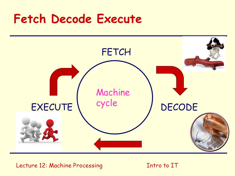 Lecture 12: Machine ProcessingIntro to IT Fetch Decode Execute FETCH EXECUTEDECODE Machine cycle