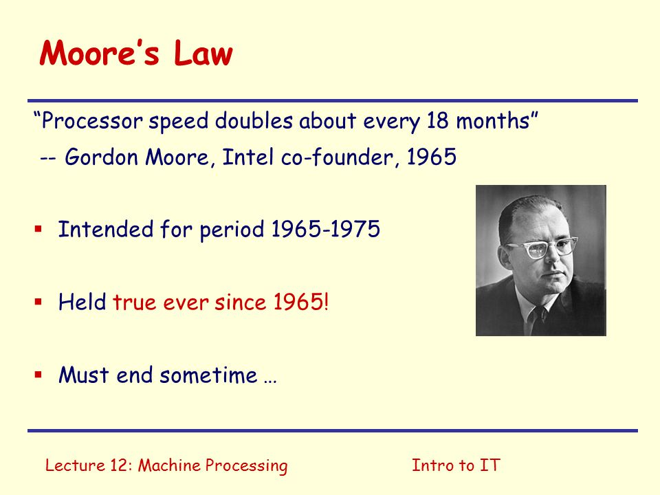 Lecture 12: Machine ProcessingIntro to IT What do computers do.
