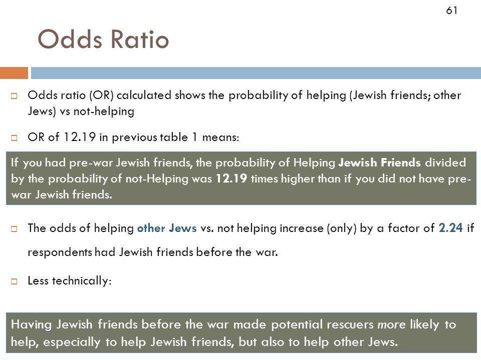 61 Odds Ratio  Odds ratio (OR) calculated shows the probability of helping (Jewish friends; other Jews) vs not-helping  OR of in previous table 1 means:  The odds of helping other Jews vs.
