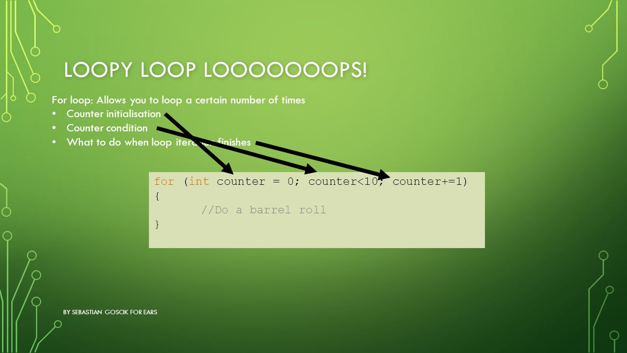LOOPY LOOP LOOOOOOOPS! BY SEBASTIAN GOSCIK FOR EARS for (int counter = 0; counter<10; counter+=1) { //Do a barrel roll } For loop: Allows you to loop
