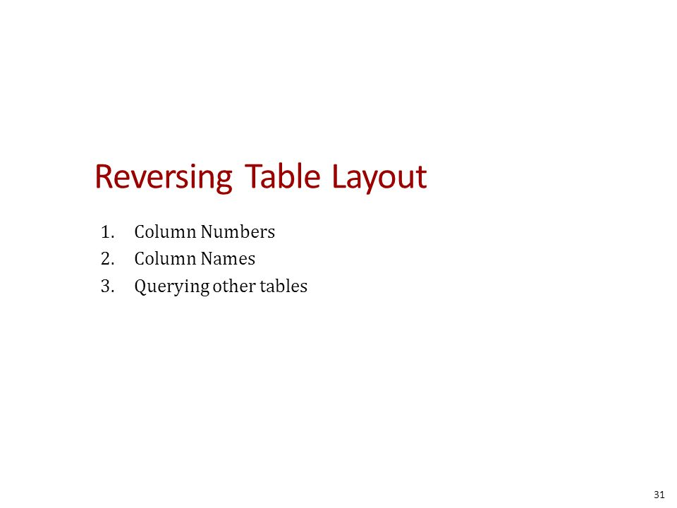 Reversing Table Layout 1.Column Numbers 2.Column Names 3.Querying other tables 31