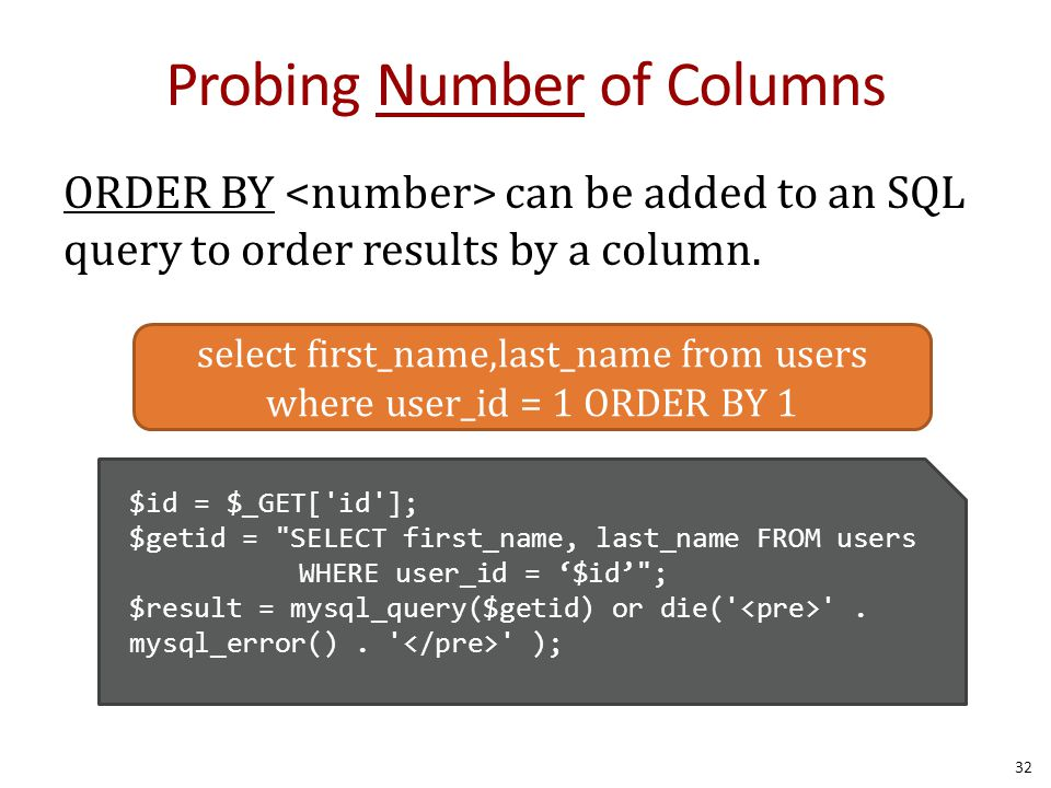 Probing Number of Columns ORDER BY can be added to an SQL query to order results by a column.