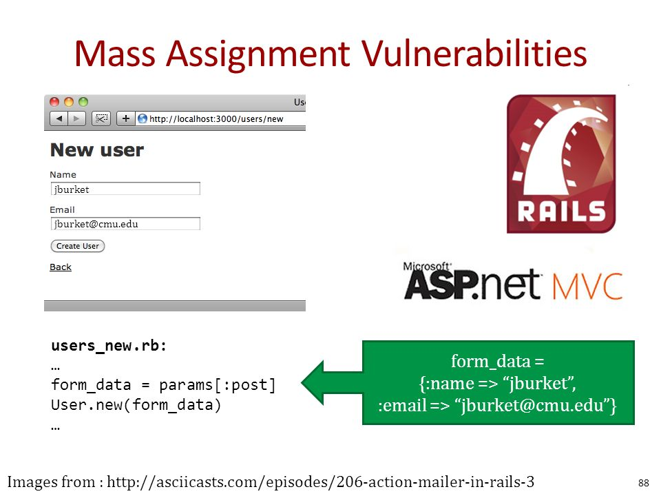 Mass Assignment Vulnerabilities 88 Images from : http://asciicasts.com/episodes/206-action-mailer-in-rails-3 jburket jburket@cmu.edu users_new.rb: … form_data = params[:post] User.new(form_data) … form_data = {:name => jburket , :email => jburket@cmu.edu }