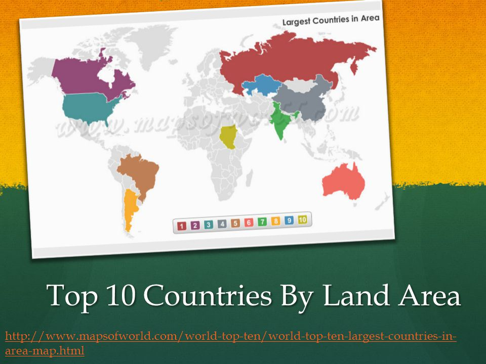 Top 10 Countries By Land Area http://www.mapsofworld.com/world-top-ten/world-top-ten-largest-countries-in- area-map.html