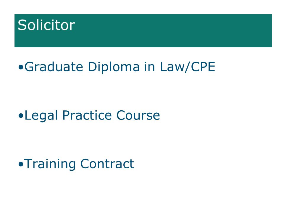 Solicitor Graduate Diploma in Law/CPE Legal Practice Course Training Contract