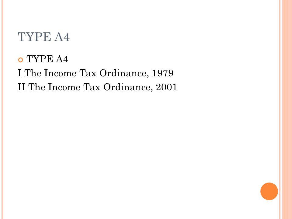 TYPE A4 I The Income Tax Ordinance, 1979 II The Income Tax Ordinance, 2001